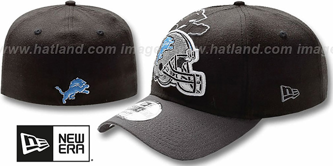 Lions 'NFL BLACK-CLASSIC FLEX' Hat by New Era : pictured without stickers that these products are shipped with