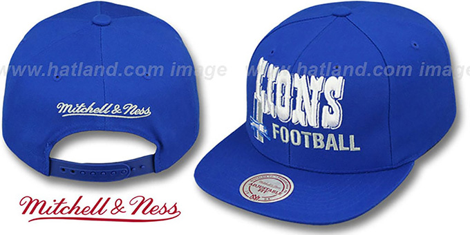 Lions 'NFL-BLOCKER SNAPBACK' Blue Hat by Mitchell & Ness : pictured without stickers that these products are shipped with