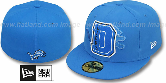 Lions 'NFL FELTN' Blue Fitted Hat by New Era : pictured without stickers that these products are shipped with