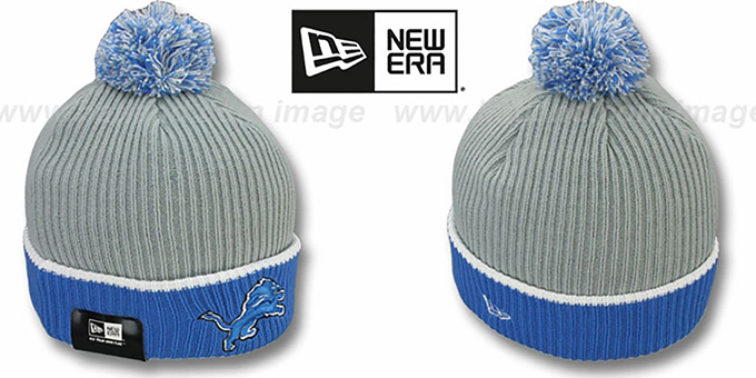 Lions 'NFL FIRESIDE' Grey-Blue Knit Beanie Hat by New Era : pictured without stickers that these products are shipped with
