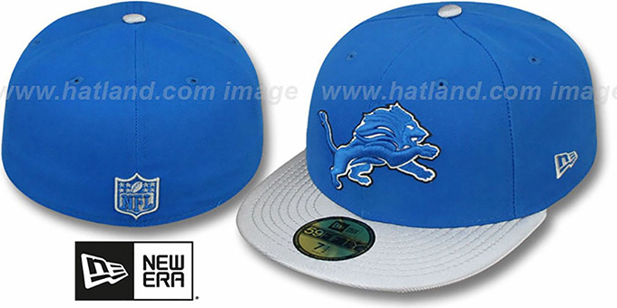 Lions 'NFL JERSEY-BASIC' Blue-Grey Fitted Hat by New Era : pictured without stickers that these products are shipped with