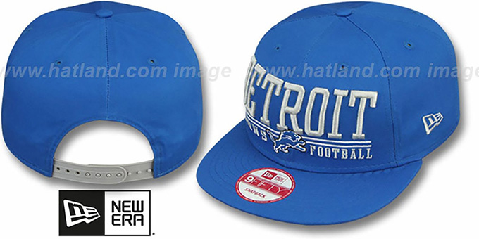 Lions 'NFL LATERAL SNAPBACK' Blue Hat by New Era : pictured without stickers that these products are shipped with