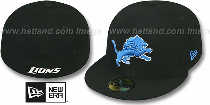 Lions 'NFL TEAM-BASIC' Black Fitted Hat by New Era : pictured without stickers that these products are shipped with