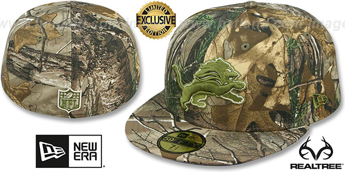Lions 'NFL TEAM-BASIC' Realtree Camo Fitted Hat by New Era : pictured without stickers that these products are shipped with