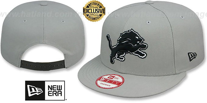 Lions 'NFL TEAM-BASIC SNAPBACK' Grey-Black Hat by New Era : pictured without stickers that these products are shipped with