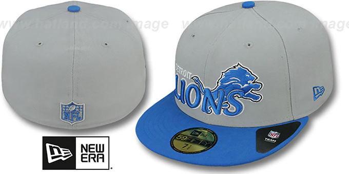 Lions 'NFL-TIGHT' Grey-Blue Fitted Hat by New Era : pictured without stickers that these products are shipped with