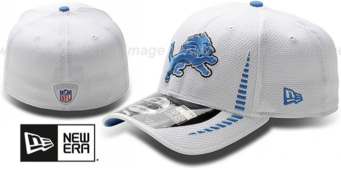 Lions 'NFL TRAINING FLEX' White Hat by New Era : pictured without stickers that these products are shipped with