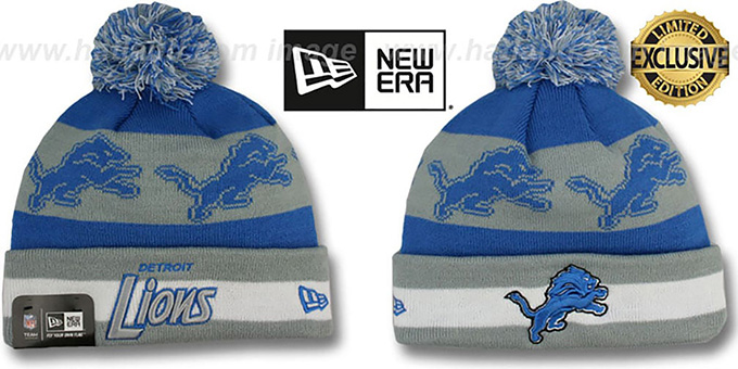 Lions 'REPEATER SCRIPT' Knit Beanie Hat by New Era : pictured without stickers that these products are shipped with