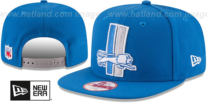 Lions 'RETRO-BASIC SNAPBACK' Blue Hat by New Era : pictured without stickers that these products are shipped with