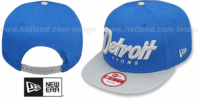 Lions 'SNAP-IT-BACK SNAPBACK' Blue-Grey Hat by New Era : pictured without stickers that these products are shipped with