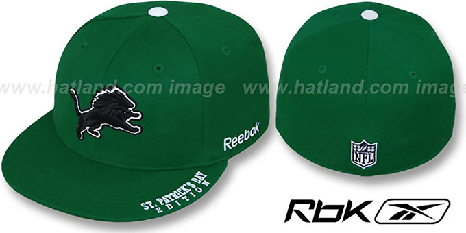 Lions 'St Patricks Day' Green Fitted Hat by Reebok : pictured without stickers that these products are shipped with