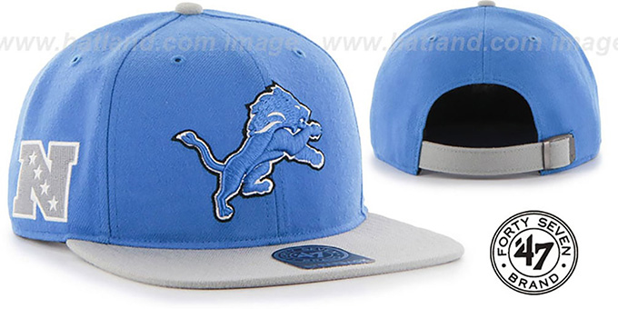 Lions 'SUPER-SHOT STRAPBACK' Blue-Grey Hat by Twins 47 Brand : pictured without stickers that these products are shipped with