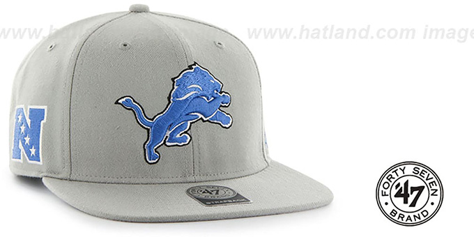 Lions 'SUPER-SHOT STRAPBACK' Grey Hat by Twins 47 Brand : pictured without stickers that these products are shipped with