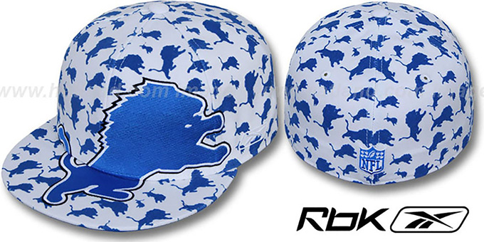Lions 'SUPERSIZE FLOCKING' White Fitted Hat by Reebok