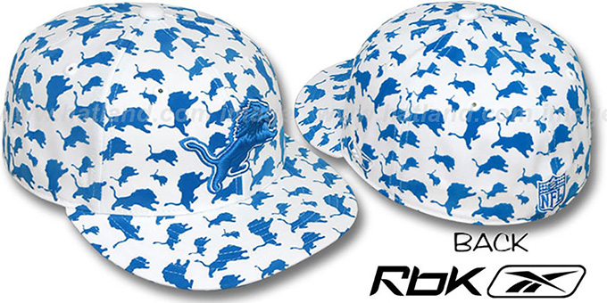 Lions 'TEAM-FLOCKING ALL-OVER' White Fitted Hat by Reebok : pictured without stickers that these products are shipped with