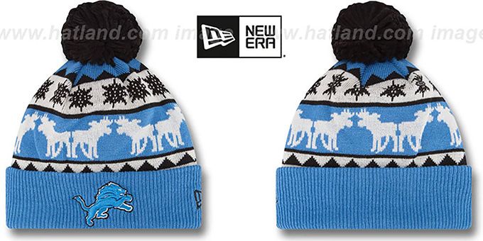Lions 'THE-MOOSER' Knit Beanie Hat by New Era : pictured without stickers that these products are shipped with