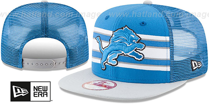 Lions 'THROWBACK-STRIPE SNAPBACK' Blue-Grey Hat by New Era : pictured without stickers that these products are shipped with