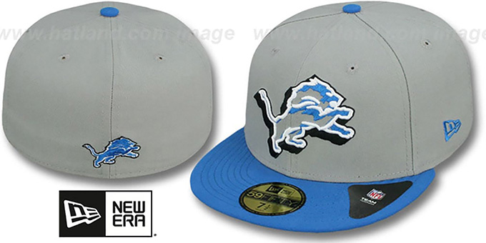 Lions 'TRACE-POP' Grey-Blue Fitted Hat by New Era : pictured without stickers that these products are shipped with