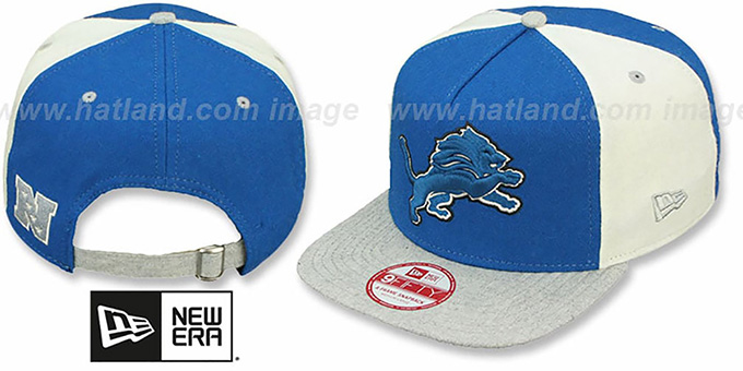 Lions 'TRIPLE MELTON STRAPBACK' Blue-White-Grey Hat by New Era : pictured without stickers that these products are shipped with