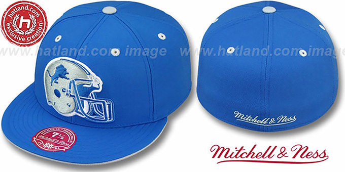 Lions 'XL-HELMET' Blue Fitted Hat by Mitchell & Ness : pictured without stickers that these products are shipped with