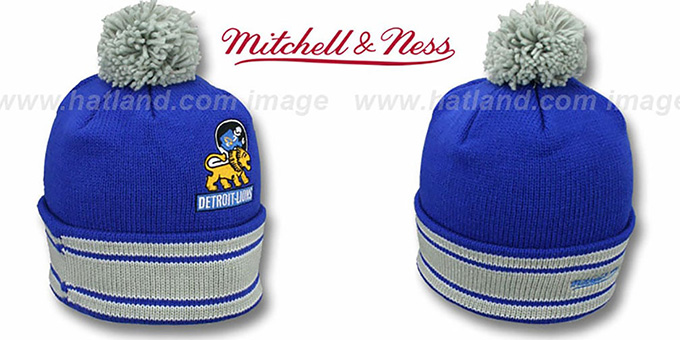 Lions 'XL-LOGO BEANIE' Blue by Mitchell and Ness : pictured without stickers that these products are shipped with
