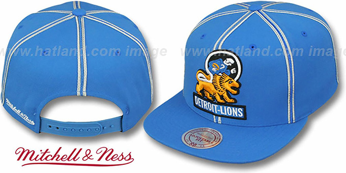 Lions 'XL-LOGO SOUTACHE SNAPBACK' Blue Adjustable Hat by Mitchell & Ness : pictured without stickers that these products are shipped with