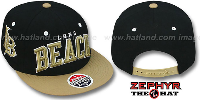 Long Beach '2T SUPER-ARCH SNAPBACK' Black-Gold Adjustable Hat by Zephyr : pictured without stickers that these products are shipped with