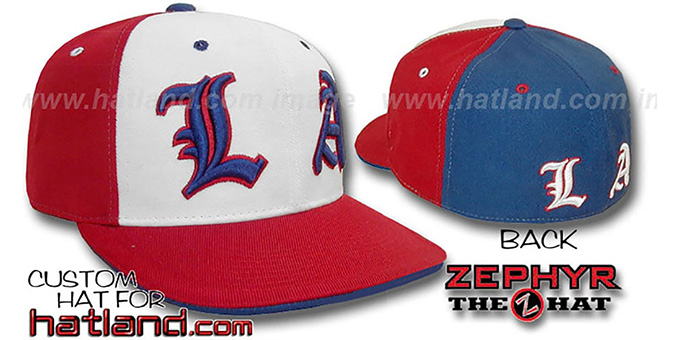 Los Angeles 'PINWHEEL' White-Red-Royal Fitted Hat : pictured without stickers that these products are shipped with