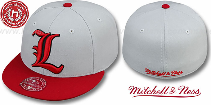 Louisville '2T XL-LOGO' Grey-Red Fitted Hat by Mitchell & Ness : pictured without stickers that these products are shipped with
