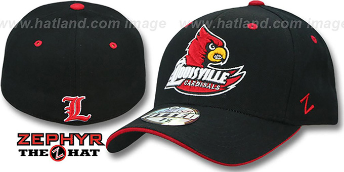 Louisville 'DHS' Black Fitted Hat by Zephyr : pictured without stickers that these products are shipped with