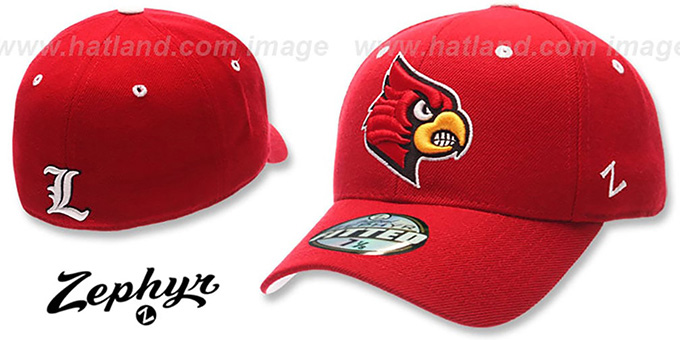 Louisville 'DHS' Red Fitted Hat by Zephyr : pictured without stickers that these products are shipped with
