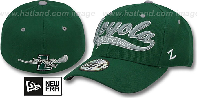 Loyola 'SWOOP LACROSSE' Green Fitted Hat by Zephyr : pictured without stickers that these products are shipped with