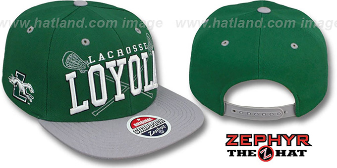 Loyola 'LACROSSE SUPER-ARCH SNAPBACK' Green-Grey Hat by Zephyr : pictured without stickers that these products are shipped with