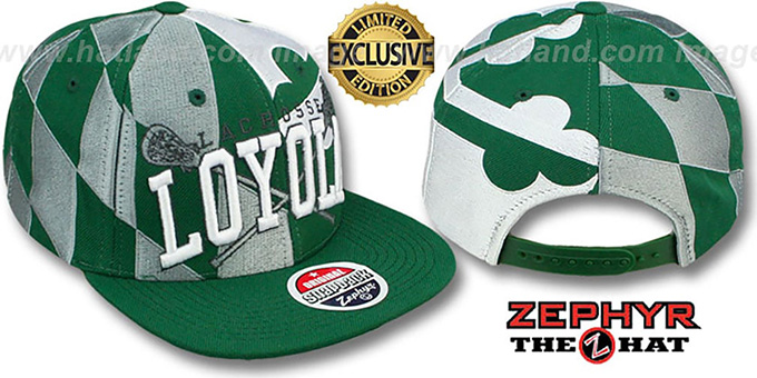 Loyola 'LACROSSE SUPER-FLAG SNAPBACK' Hat by Zephyr : pictured without stickers that these products are shipped with