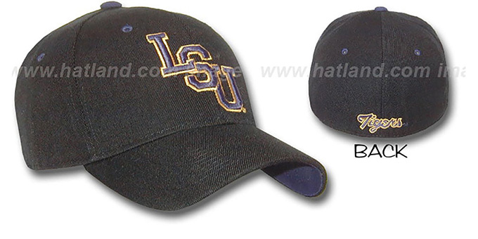 LSU 'DH' Fitted Hat by ZEPHYR in black : pictured without stickers that these products are shipped with