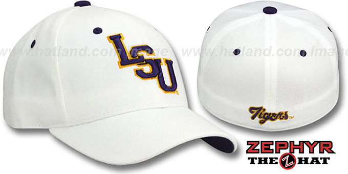 LSU 'DH' Fitted Hat by ZEPHYR - white : pictured without stickers that these products are shipped with