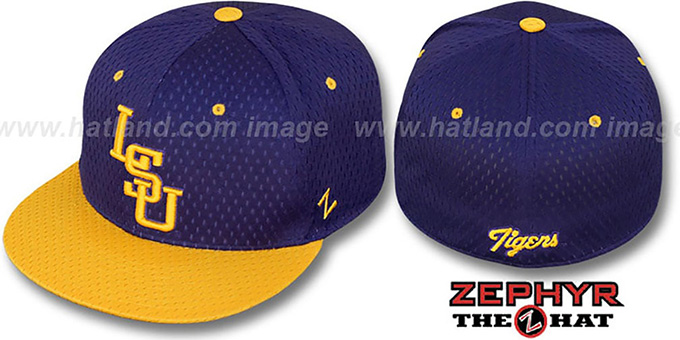 LSU 'DOUBLE PLAY MESH' Purple-Gold Fitted Hat by Zephyr : pictured without stickers that these products are shipped with