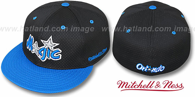 Magic '2T BP-MESH' Black-Blue Fitted Hat by Mitchell & Ness : pictured without stickers that these products are shipped with
