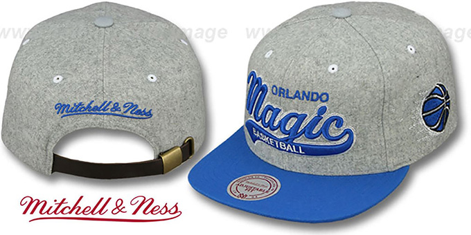 Magic '2T TAILSWEEPER STRAPBACK' Grey-Blue Hat by Mitchell & Ness : pictured without stickers that these products are shipped with