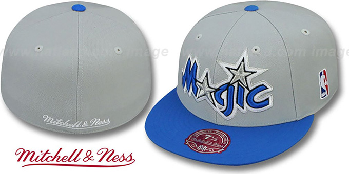 Magic '2T XL-LOGO' Grey-Royal Fitted Hat by Mitchell & Ness : pictured without stickers that these products are shipped with