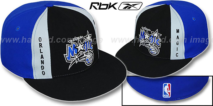 Magic 'AJD PINWHEEL' Black-Royal Fitted Hat by Reebok : pictured without stickers that these products are shipped with