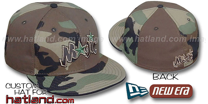 Magic CAMO 'PINWHEEL' Brown-Woodland Fitted Hat : pictured without stickers that these products are shipped with