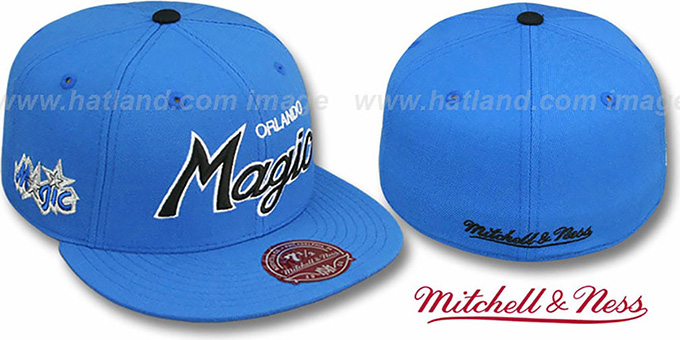 Magic 'CLASSIC-SCRIPT' Blue Fitted Hat by Mitchell & Ness : pictured without stickers that these products are shipped with