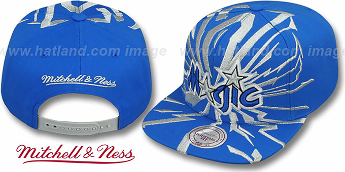Magic 'EARTHQUAKE SNAPBACK' Blue Hat by Mitchell & Ness : pictured without stickers that these products are shipped with