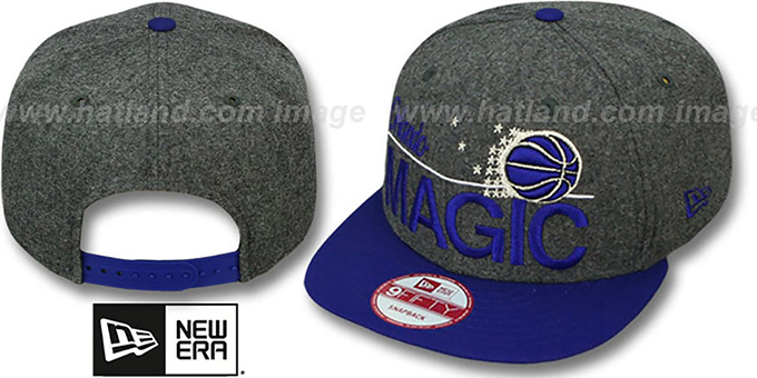 Magic 'FLANNEL SNAPBACK' Grey-Royal Hat by New Era : pictured without stickers that these products are shipped with