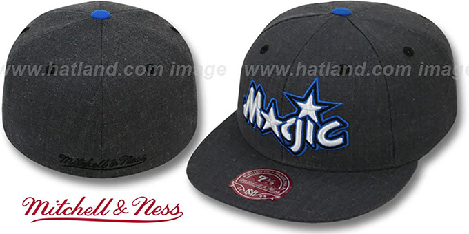 Magic 'GREY HEDGEHOG' Fitted Hat by Mitchell & Ness : pictured without stickers that these products are shipped with