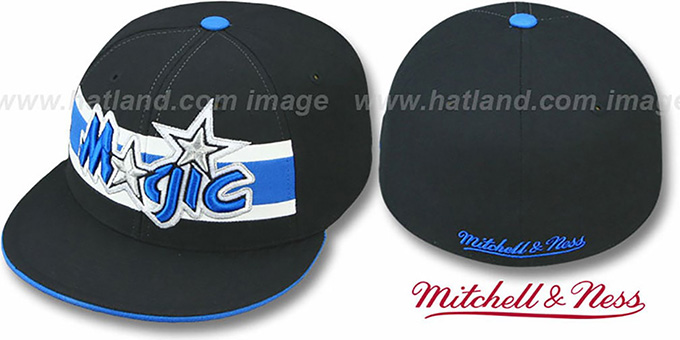 Magic 'HARDWOOD TIMEOUT' Black Fitted Hat by Mitchell & Ness : pictured without stickers that these products are shipped with
