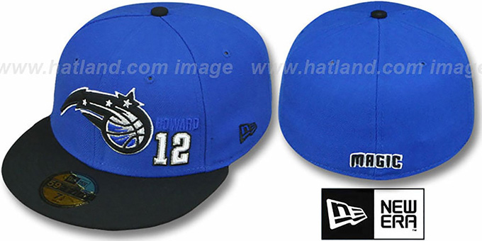 Magic HOWARD '2T-PLAYER' Blue-Black Fitted Hat by New Era : pictured without stickers that these products are shipped with