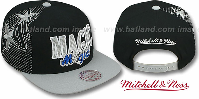 Magic 'LASER-STITCH SNAPBACK' Black-Grey Hat by Mitchell & Ness : pictured without stickers that these products are shipped with