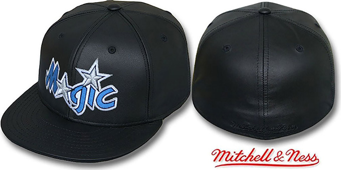 Magic 'LEATHER HARDWOOD' Fitted Hat by Mitchell and Ness : pictured without stickers that these products are shipped with